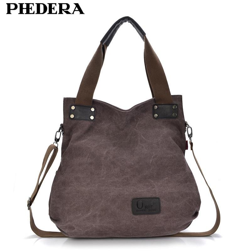 New Design Women Shoulder Large Casual Women Canvas Handbags Large Capacity Coffee Women Messenger Bag Retro Female Bag 2017