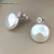 charming natural freshwater coin Button 13mm flat round fine pearls jewelry earrings 925 sterling silver zirconium for women(China)