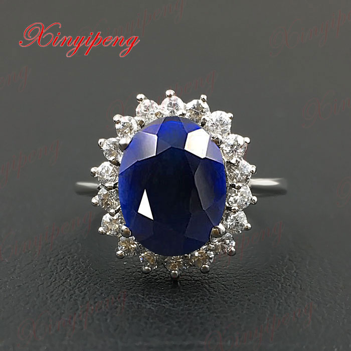 925 silver inlaid natural sapphire ring female classic girlfriend mother good gift boutique jewelry