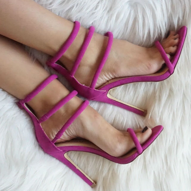 2017 Summer Hot Selling Open Toe Woman Sandal Ankle Strap High Heel Shoes Purple Suede Gladiator Sandal Cutouts Shoes