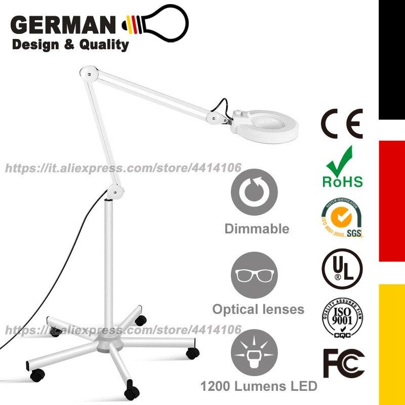 Lampadaire LED, lumière esthéticienne LED, loupe avec lumière, loupe éclairée pour la lecture, réglable et Dimmable