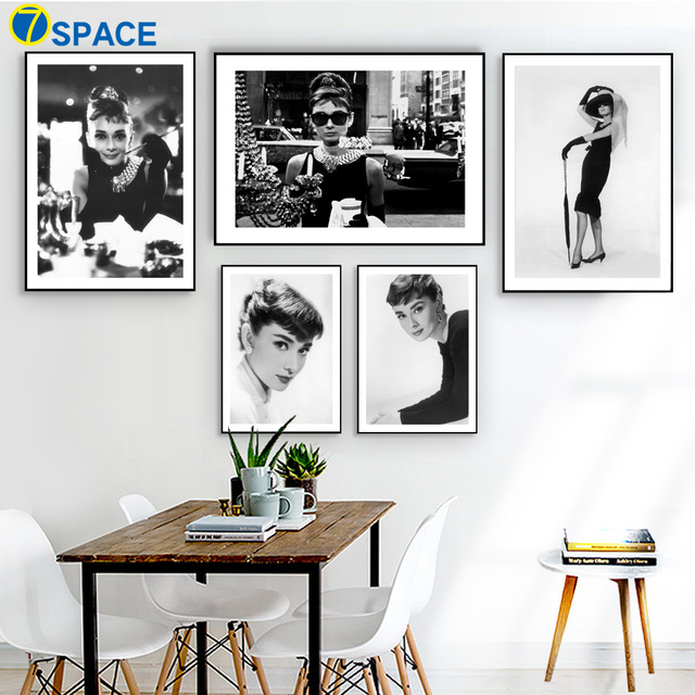 7 Space Audrey Hepburn Wall Art Print Canvas Painting Nordic Poster Black  White Movie Star