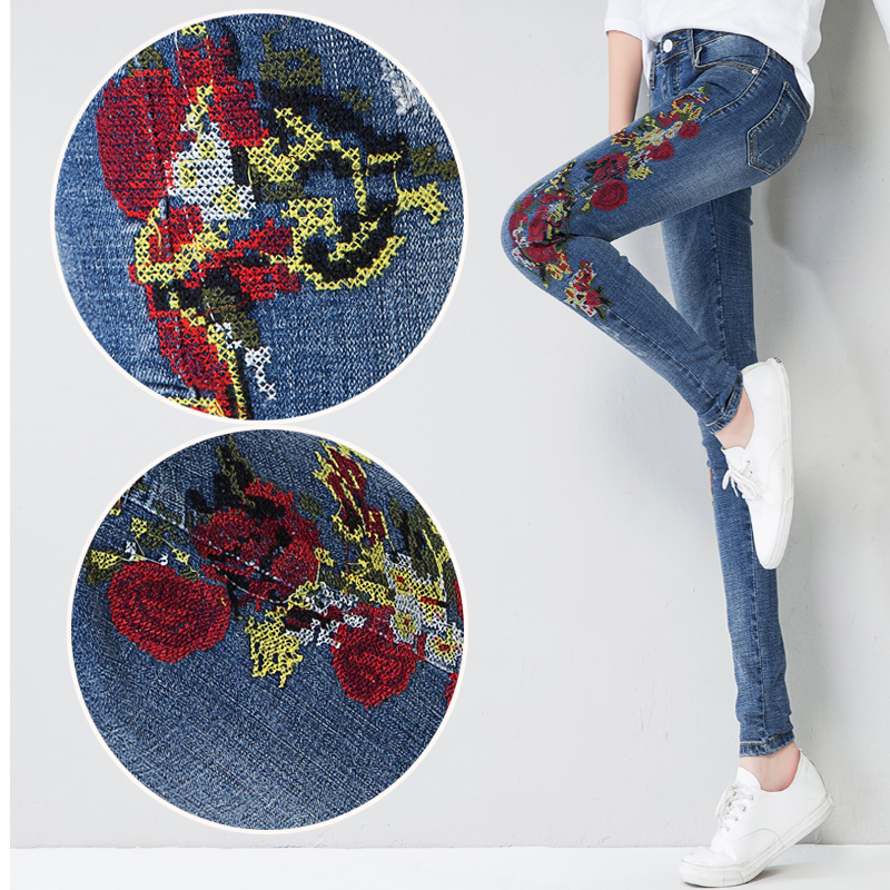 2017 Spring and Autumn Women Jeans High Waist Bird Floral 3D embroidery High Waist Ladies Straight Denim Pants Jeans Bottoms 2017 spring new women sweet floral embroidery pastoralism denim jeans pockets ankle length pants ladies casual trouse top118