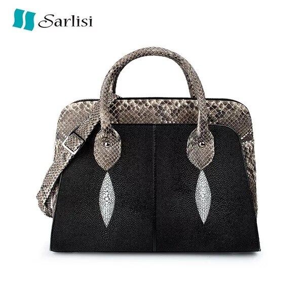 Fashion Luxury Designer Genuine Stingray Leather Women's Gift Handbag Exotic Python Skin Ladies Shoulder Bag Female Large Purse