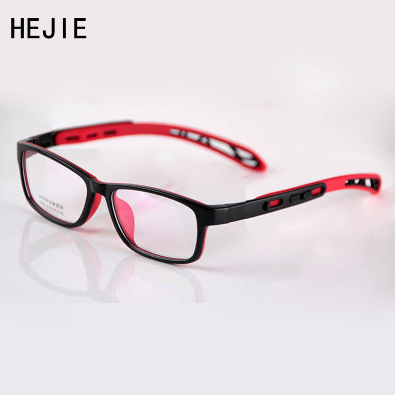 HEJIE Kids Safe Silicone & ULTEM Eyeglasses Frames Boys Girls Children Οπτικό πλαίσιο με αλυσίδα 51-15-135mm 1070