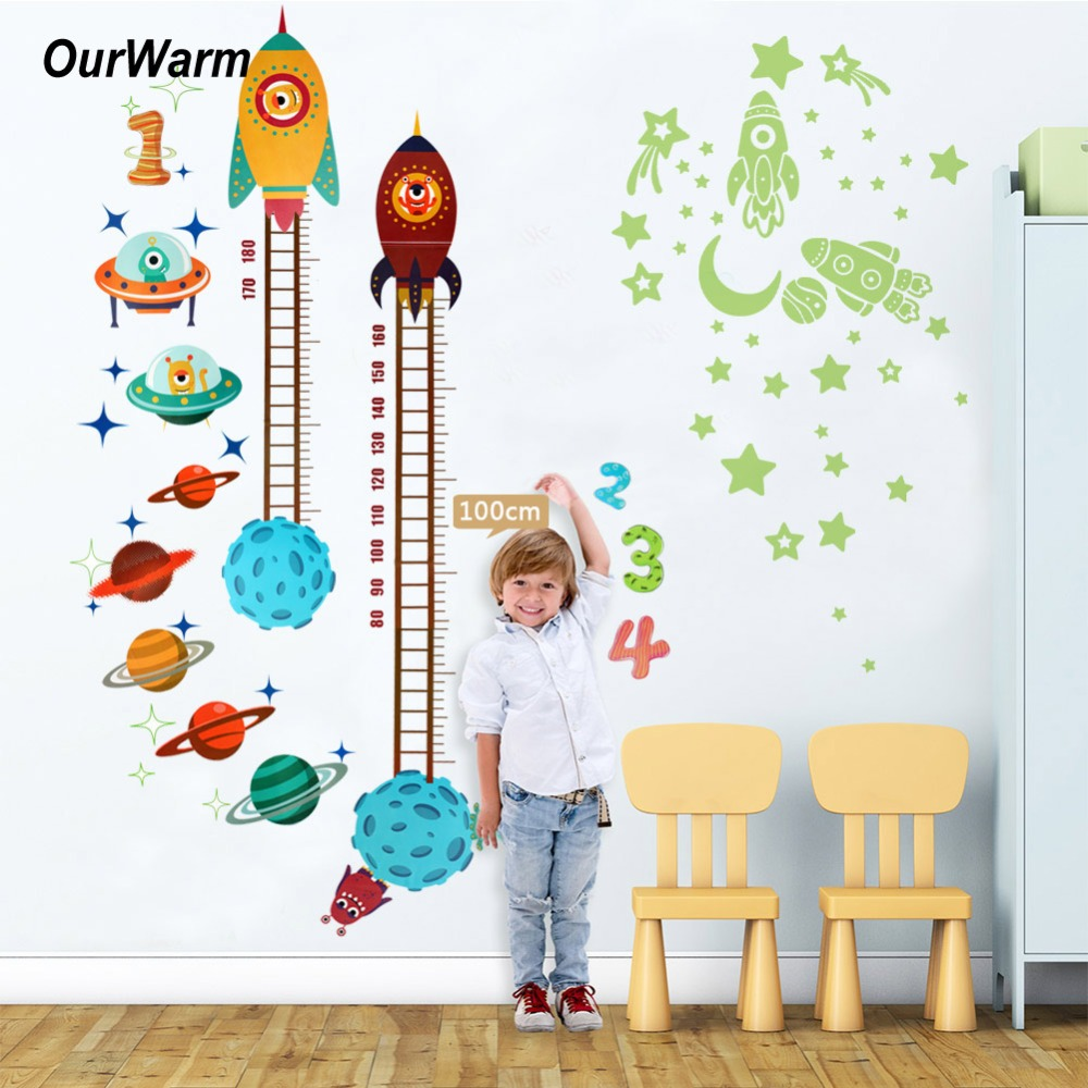 OurWarm Birthday Party Decorations Kids Space Theme Glow PVC Height ...