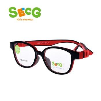 SECG Detachable Round Kids Optical Frame Children Frames Spectacles Food Grade  Material Retainer Strap Prescription Lunettes