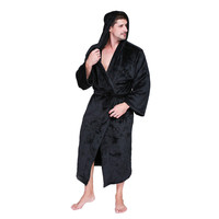 Hommes Robes peignoir Robe de Chambre hommes D'hiver À Capuchon Chaud Flanelle Long Kimono Peignoir Homme homewear de Nuit Occasionnels