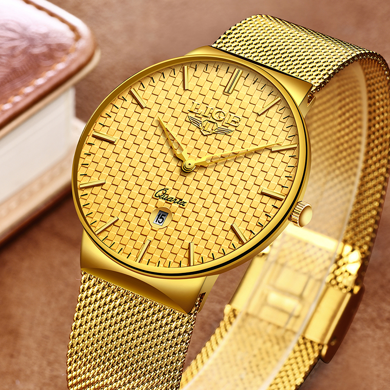 LIGE Fashion Mens Watches Top Brand Luxury Ultra Thin Quartz Watch Men Steel Mesh Strap Waterproof Gold Watch Relogio Masculino