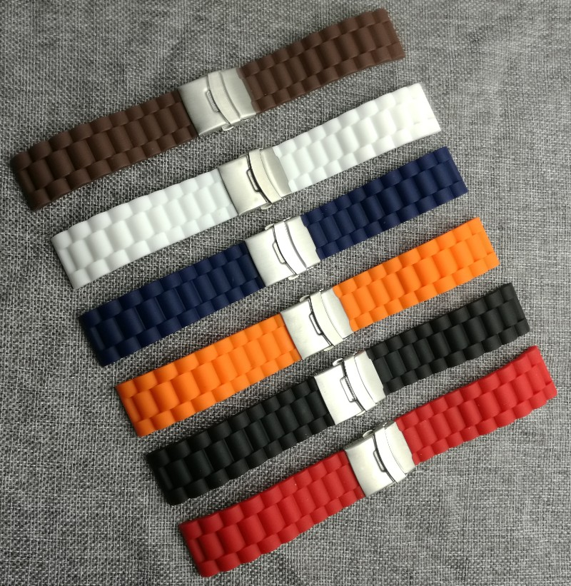 Lowest Price!! New Waterproof 6 Colors Silicone Rubber Watch Wrist Watch Strap Band Replacement 22mm 24mm 10,000 LB Rating