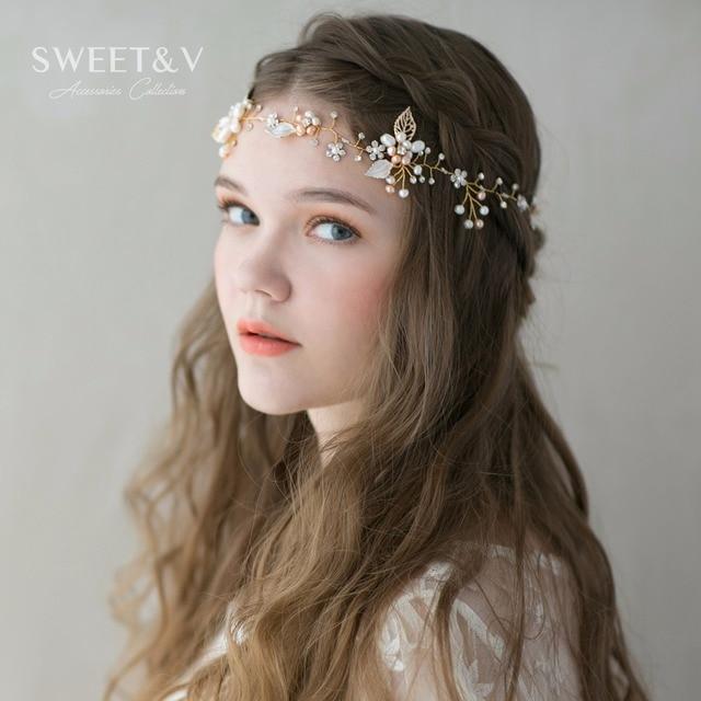 Light Gold Bohemian Headband Crown Handmade Pearl Rhinestone Wedding Hair Band Vine Bridal Headpieces Decorations