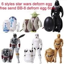 NEW action figure toys hot Star Wars 7 The Force Awakens Yoda Darth Vader deformed egg Bounty Hunter bb8 6cm 6pcs/set