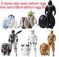 NOVO Star Wars figura de ação brinquedos quente 7 A Força desperta o Yoda Darth Vader deformed egg Caçador de Recompensas bb8 6 cm 6 pçs/set