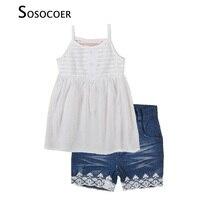Toddler Girls Clothing Set Summer White Suspenders Chiffon Tops Denim Lace Shorts 2017 New Fashion Princess