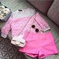 Tamaños más grandes de las señoras del verano socialité blusa de encaje soluble en agua organza hechizo conjunto tops coat + traje de pantalones cortos