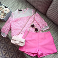 bigger sizes ladies summer socialite water soluble lace blouse spell organza set coat tops + shorts suit