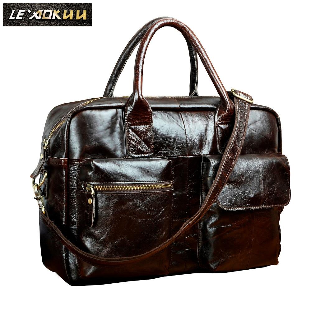 Men Genuine Leather Travel Business Briefcase 16 Laptop Case Professional Executive Portfolio Organizer Messenger Bag B331c