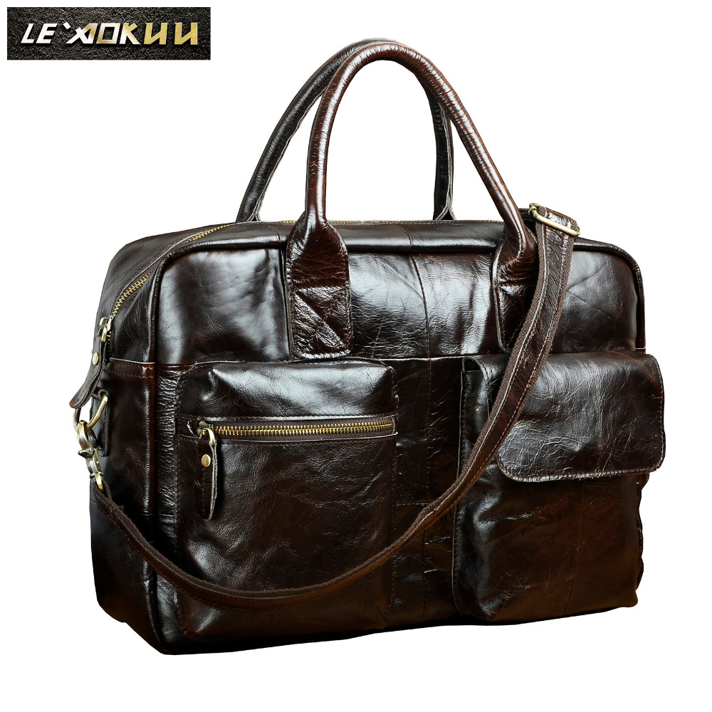 Men Genuine Leather Travel Business Briefcase 16