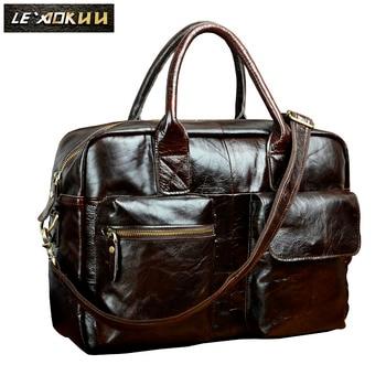 "Men Genuine Leather Travel Business Briefcase 16"" Laptop Case Professional Executive Portfolio Organizer Messenger Bag B331c"