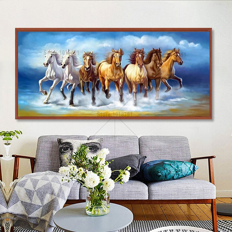 5D Diy Diamond Painting waves horse Diamond Mosaic Sets Embroidery Needlework Handmade Crafts Home Decoration Full Square