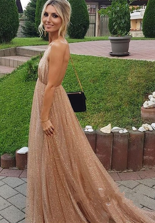 vestido formatura 2019 New Style Backless   Prom     Dress   Long Deep V-neck Tulle Evening   Dresses
