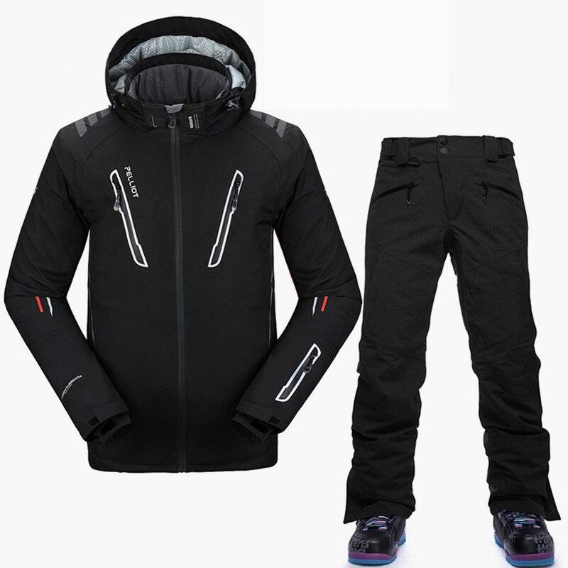 Pelliot-30 grados Snowboard trajes de los hombres de calidad superior traje de esquí de invierno impermeable y transpirable marca chaqueta de esquí chaqueta de Snowboard pantalones S-XL