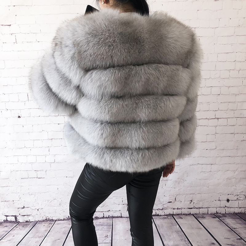 2019 new style real fur coat 100% natural fur jacket female winter warm leather fox fur coat high quality fur vest Free shipping 6