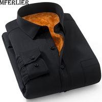 MFERLIER Winter Autumn men shirts 5XL 6XL 7XL 8XL 9XL Plus size long sleeve Casual Keep warm large size shirts men 8 colors