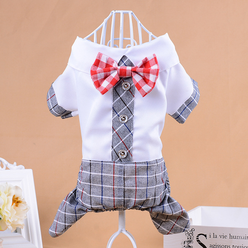 New Autumn Red Bow Tie Dog Jumpsuits Dogs Wedding Clothes S/M/L/XL/XXL Cotton Pet Clothes Pet Products Dog Jumpsuits & Rompers