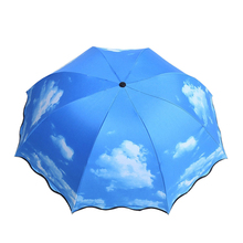 Sunny umbrella creative personality blue sky white cloud three fold black plastic sun protection against ultraviolet