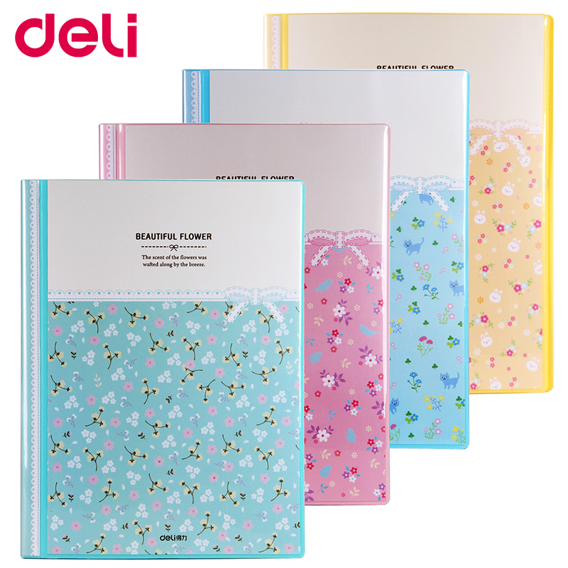 Deli A4 transparent pages file folder presentation folder 30/40/60/80 pages colorful cute suspension filesDeli A4 transparent pages file folder presentation folder 30/40/60/80 pages colorful cute suspension files