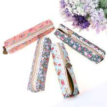 Bag Stationery Pen-Bag Pencil-Case Floral Flower Gift Multi-Function Zipper Retro Fashion