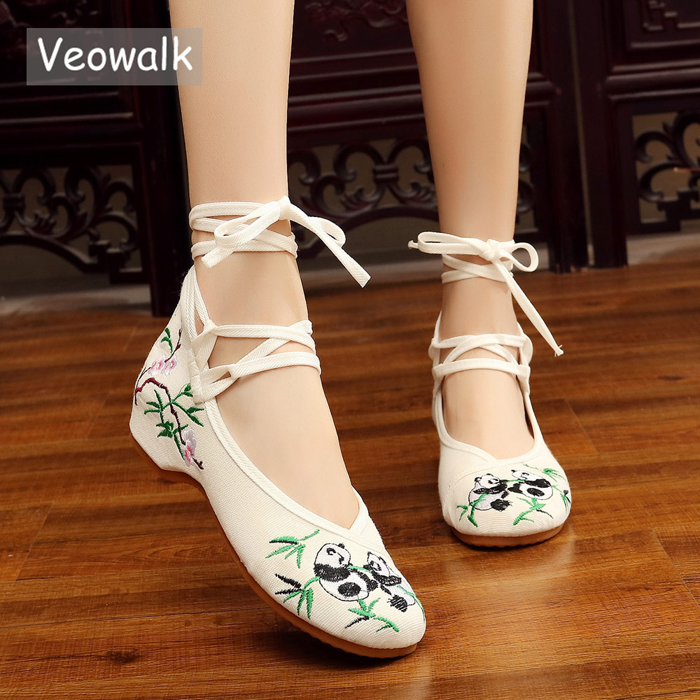Veowalk Panda Embroidered Women's Casual Canvas Ballet Flats Ankle Strap Ladies Chinese Cotton Embroidery Shoes Woman ballerinas veowalk handmade fashion women ballerinas dancing shoes chinese flower embroidery soft casual shoes cloth walking flats