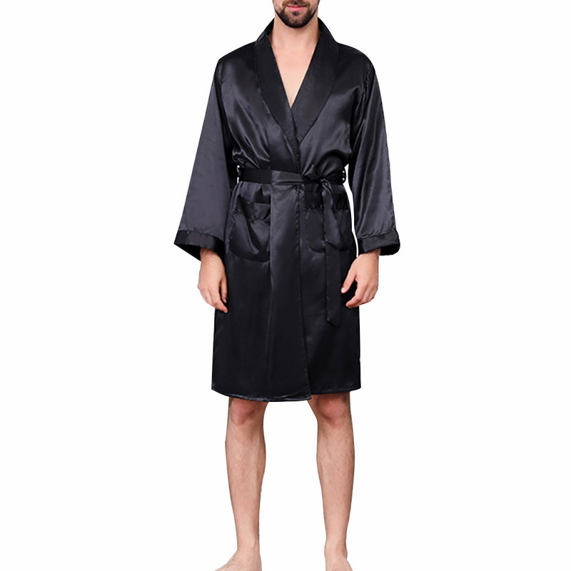 Men Black Lounge Sleepwear Faux Silk Nightwear For Men Comfort Silky Bathrobes Noble Dressing Gown Men's Sleep Robes Plus Size