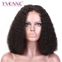 YVONNE Encaracolado Malaio Curto BOB Lace Front Wigs Brasileiro Virgem Do Cabelo 180% Densidade Com o Cabelo Do Bebê Cor Natural Frete Grátis