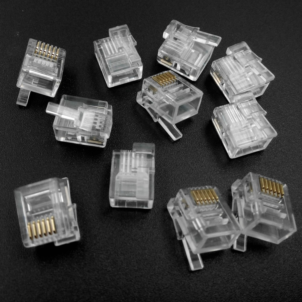 1000PCS lot 6P6C RJ12 Connector Right Buckle DIY EV3 NXT Cable Plug Crystal Head