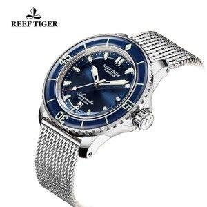 Image 3 - Reef Tiger/RT Top marka męskie mechaniczne zegarki do nurkowania szafirowa kryształowa bransoletka zegarki niebieski zegarek świetlny wodoodporny RGA3035