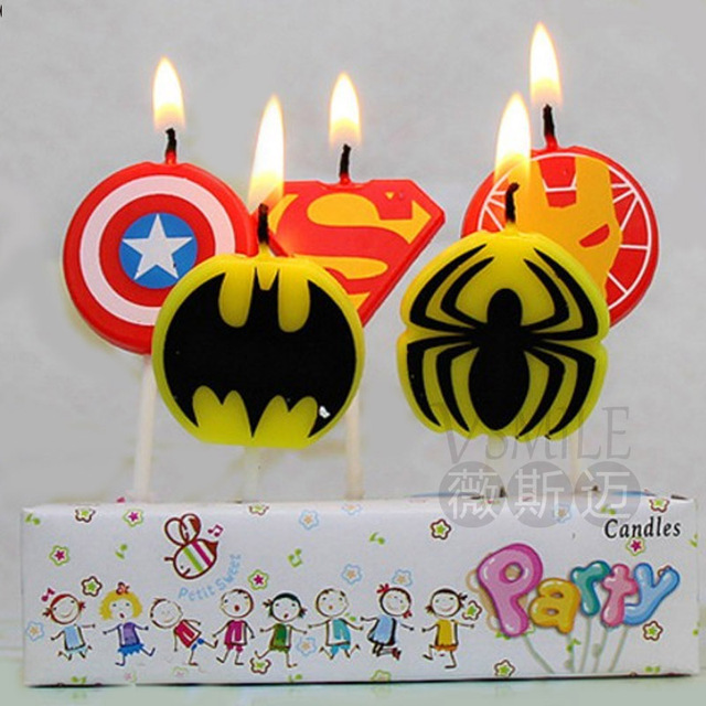 5PCS Hero Logo Batman Spiderman Candle Pokemon Cake Topper Happy Birthday Party Decoration