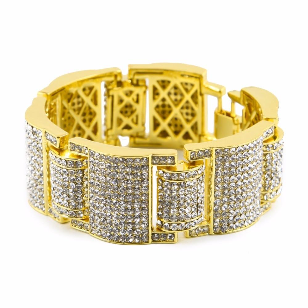 Luxury Heavy Bling Hip Hop Bangles Simulated Stone Bracelets Women Men Gold Dilver Black Full Rhinestones hand Chains Jewelry