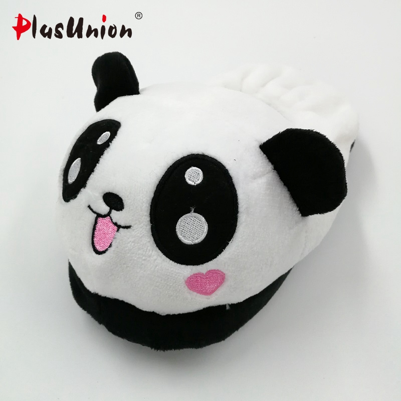 Lovely panda eyes cute slippers flock soft winter cartoon indoor flat home for women animal slipper faux plush fluffy shoes s138 warm flock women home slippers winter cute indoor house shoes casual plush flat women shoes soft bottom female footwear dx1048