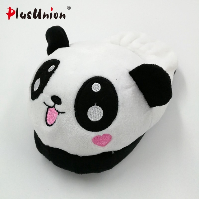 panda slippers flock winter indoor flat home with fur flip flops women platform faux plush furry fluffy rihanna shoes s138