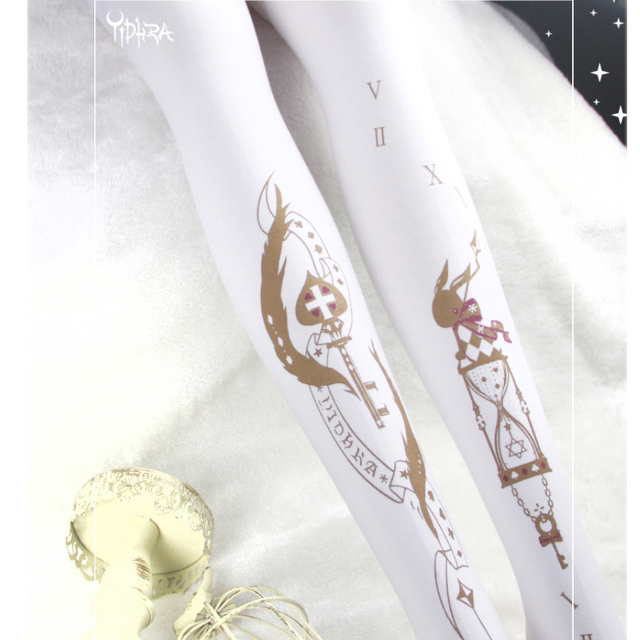 Yidhra Branded 240D Thick Lolita Pantyhose Cute Hourglass Printed Velvet Tights Black/White