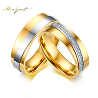 Meaeguet Gold Color Cubic Zirconia Promise Rings For Wedding Shining Heart Engagement Jewelry Wedding Bands