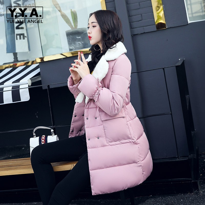 Big Faux Fur Lapel Collar Womens Down Jacket Color Thicken Warm Winter Female Jacket Double Breasted Outwear Coat Loose Overcoat mens winter down jackets coats piumino peuterey wool collar double breasted jacket lapel pocket vertical multi pocket jacket