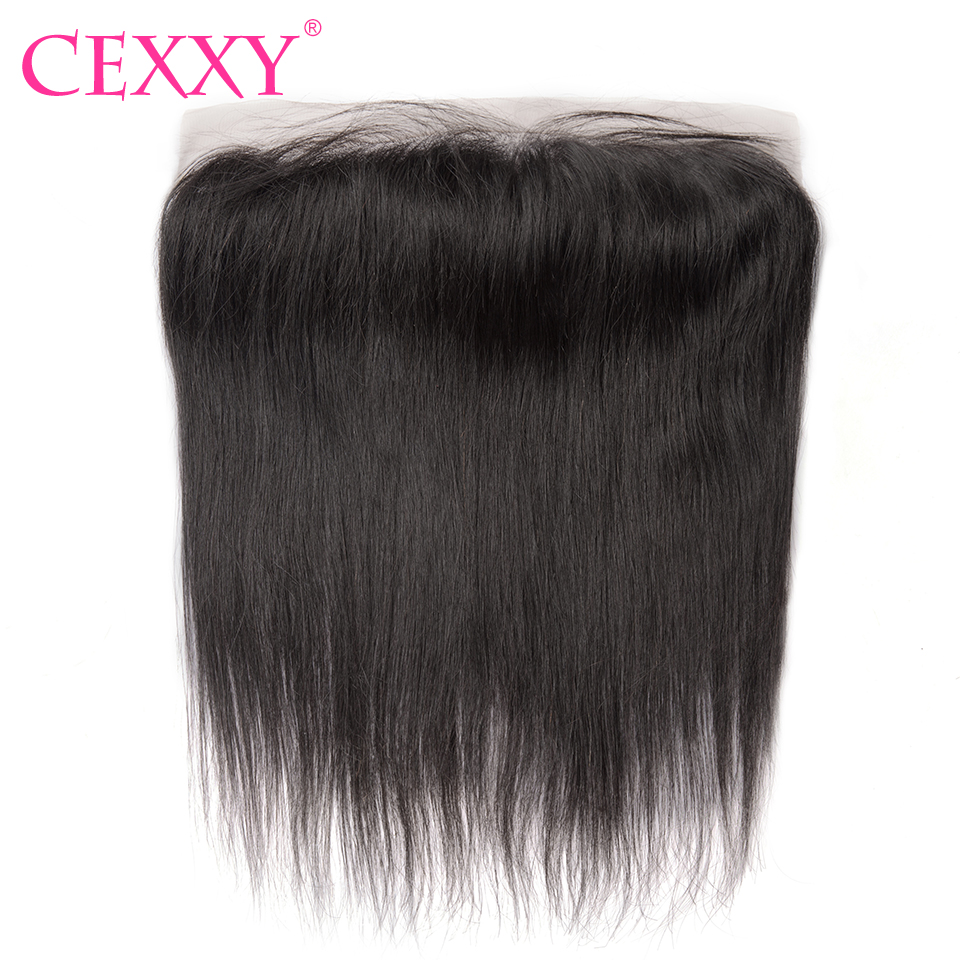 CEXXY Brazilian Lace Frontal Closure Remy Hair Straight 13*4 Plucked Natural Hairline With Baby Hair 100% Human Hair