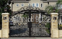 Henchuang custom all dimension of wrought iron gates forged iron gate villa wrought iron gate