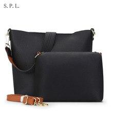 S.P.L. marca mujeres bolsos de cuero de moda compuesto bolsas de hombro bolsa de mensajero de las mujeres bolsos de diseño sólido atrás