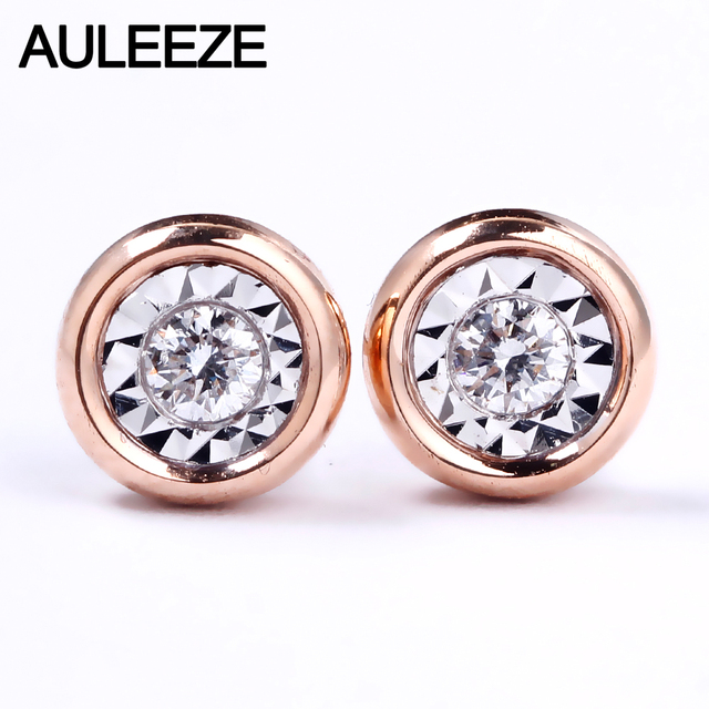 Auleeze Clic Natural Diamond Stud Earrings 18k Rose White Gold 1 5 Carat Effect
