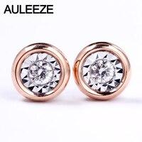 Auleeze классический природных алмазов Серьги гвоздики 18 К розовое Белое золото ''. 5 карат effect'' Свадебные Серьги для Для женщин Ювелирные украш