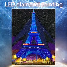 Huacan Diamond Painting LED 5D Eiffel Tower Embroidery Light Full Round Drill  Mosaic 30x40cm With Frame